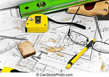 措施, 圖, 看見, 不同, 忙, 磁帶, 看見, 螺絲, tools:, 愛好, 鉛筆, workbench., 在上, 木匠, 統治者, 螺絲刀, glasses., 灰塵, 向前, 藍圖, 水平, 蜂鳴器, 躺