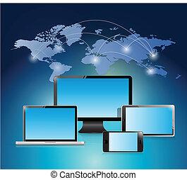 插圖, 世界, 設計, 网絡, 電子