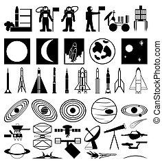 插圖, 主題, 彙整, 黑色半面畫像, 矢量, space.