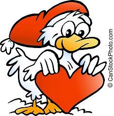 插圖, 卡通, 矢量, 鴨子, 聖誕節, 愉快