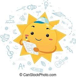 插圖, 夏天, 吉祥人, 雜志, 太陽