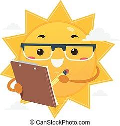 插圖, 太陽, 夾子, 科學家, 板, 吉祥人
