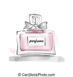 插圖, 女性, 弓, 矢量, 瓶子, 樣板, 香水