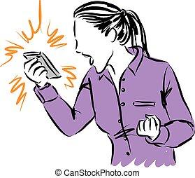 插圖, 婦女, 電話, 叫喊