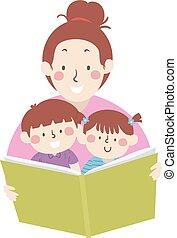 插圖, 媽媽, 閱讀, 書, 講故事, 孩子