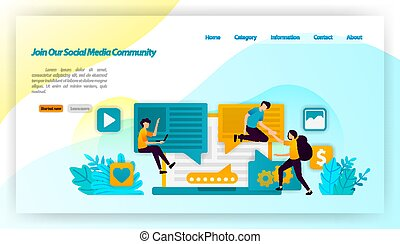插圖, 旗幟, 分享, 通訊, ui, 影響, 加入, 著陸, 社會, 矢量, 飛行物, 邀請, app, 網站, 概念, 追隨者, 网, ux, 我們, 人們, 頁, community., 海報, 媒介, 流動