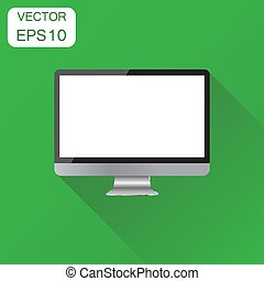 插圖, 概念, 電腦監視器, 事務, pictogram., 桌面, 現實, 矢量, 綠色, 長, 背景, icon., shadow.