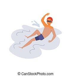 插圖, 游泳者, 人, 游泳, isolated., 或者, 水, 套間, 運動員, 矢量