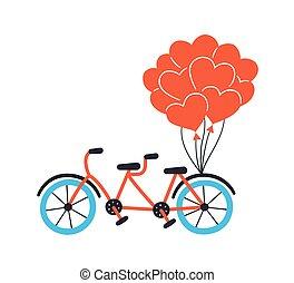插圖, 畫, 自行車, hearts., 紅色, balloons., 匯接, 手, 自行車, 矢量