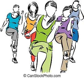 插圖, 矢量, 組, 人們, 健身