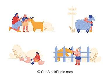 插圖, 花費, sheep, 務農, 字符, 孩子, 關心, parents., 人們, 女孩, 國內, 很少, 矢量, 動物, 兔子, 卡通, 孩子, 男孩, goat., weekend., 寵愛, 時間, 母親, 訪問