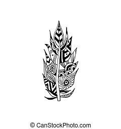 插圖, 被隔离, 羽毛, 种族, 圖案, 矢量, 部落