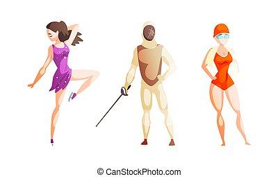 插圖, 運動, 卡通, 游泳者, 女孩, 滑冰者, 買賣臟物的人, 專業人員, 圖, 矢量, 運動員, 集合, 人