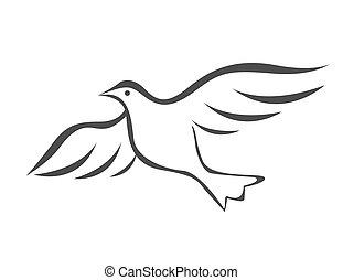 插圖, 飛行, 矢量, 鴿