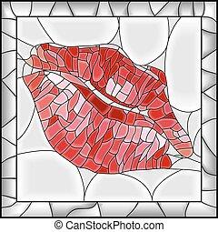 插圖, imprint., 嘴唇