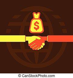 握手, 商人, 交易, 或者