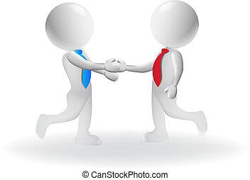 握手, 商業界人士, 矢量, 設計, 小, 標識語, 3d