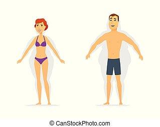 損失, 重量, 人們, 現代, -, 插圖, 字符, 卡通