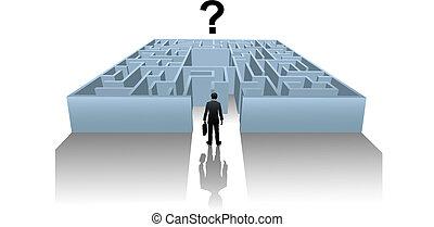 搜尋, 事務, 解決, 人, 網際網路, 迷宮