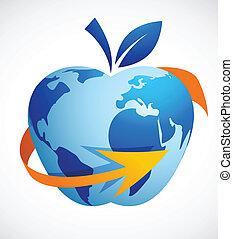 摘要, -, 全球, 蘋果, 技術, 村莊