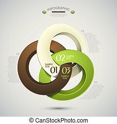 摘要, 矢量, 戒指, 3d, infographics