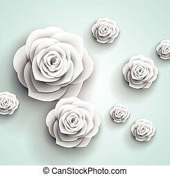 摘要, -, 紙, 矢量, 背景, 花