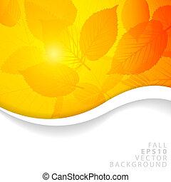 摘要, 背景, 植物, 矢量, 黃色, 秋天