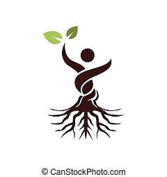 摘要, 葉子, 樹, 人, 綠色, 手, 提高