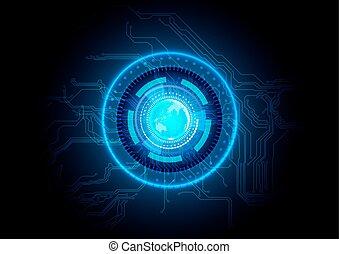 摘要, 電路, 技術, 藍色, 背景。