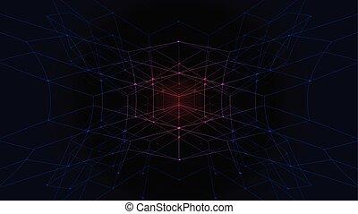 摘要, wireframe, 技術, 多角形, 背景