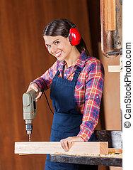 操練, 木匠, 機器, 木頭, 女性, 使用