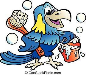 擦淨劑, 鸚鵡, 插圖, 矢量, 卡通, 愉快