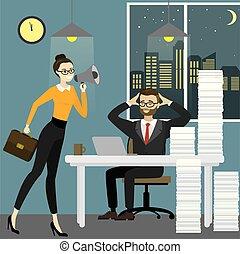 擴音器, 婦女, 老板, 事務, 疲倦, 辦公室, 人, 尖聲喊叫, 工人