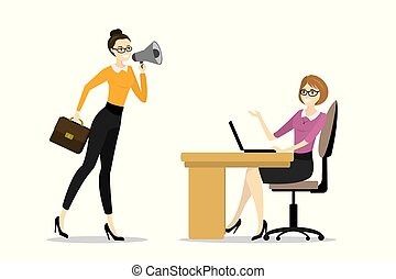 擴音器, 婦女, 老板, 壓力, 事務, 疲倦, 辦公室, 尖聲喊叫, 婦女, 工人
