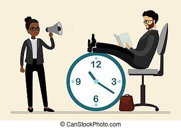 擴音器, 老板, 從事工商業的女性, 放松, 辦公室, 高加索人, 工人