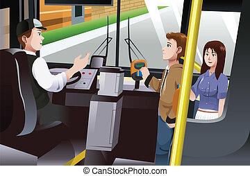 支付, 公共汽車, 票价, 人們