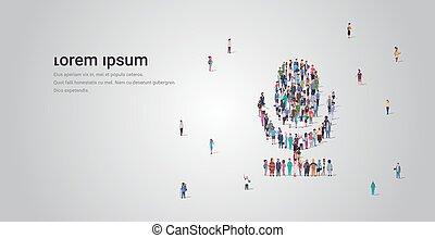 收集, 概念, 人群, 人們, 社區, 形狀, 技術, 職業, 站立, 話筒, 組, 空間, 媒介, mic, 系統, 充分, 不同, 水平, 模仿, 雇員, 一起, 長度, 社會, 音調