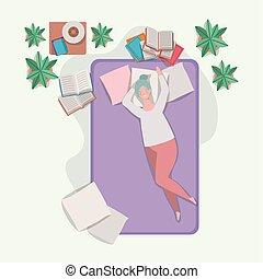 放松的女人, 年輕, 肥胖, 床墊, 寢室