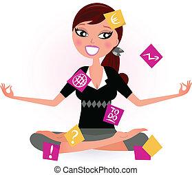 放鬆, 矢量, 忙, 婦女, 瑜伽, position., 插圖, retro, 注釋, 嘗試