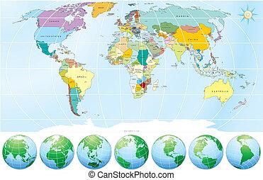 政治, 地圖, 世界