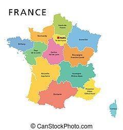 政治, 多种顏色, 地圖, 法國, 法國, 大城市, 地區