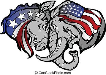 政治, 驢, carto, 大象
