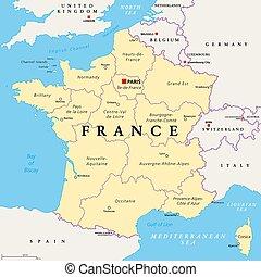 政治, map., 法國, 大城市, 法國, 地區