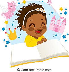 故事, 女孩, 書, 閱讀, 仙女