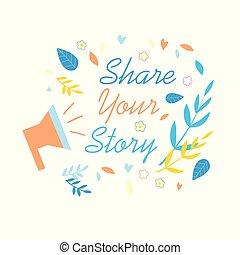 故事, 媒介, 分享, 社會, 促進, 旗幟, 你