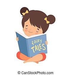 故事, 很少, 矢量, 藏品, 仙女, 閱讀, 插圖, 打開, 女孩, 書