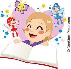 故事, 漂亮, 女孩讀物, 仙女
