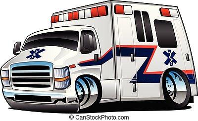 救護車, 矢量, 卡車, 卡通, 插圖, 護理人員, 被隔离, 援救, 白色