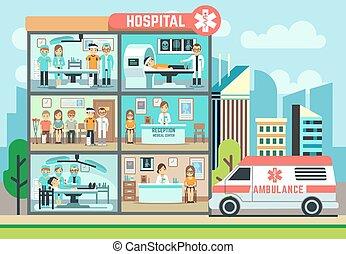 救護車, 醫學, 健康護理, 矢量, 醫院, 病人, 建築物, 套間, 插圖, 醫生, 門診部