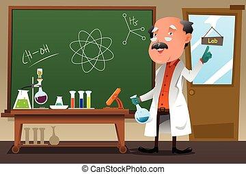 教授, 化學, 實驗室, 工作